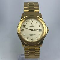 Elgin Mens FX282 Gold Tone Stainless Steel Band Date Indicator Analog Watch
