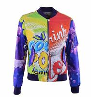 "MOSCHINO COUTURE RUNWAY Nylon Jacket with ""Drink Soda"" Print Purple 04582"