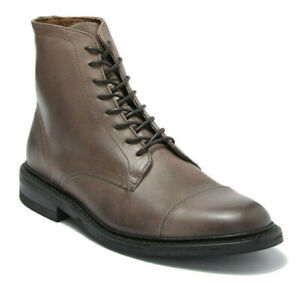 Frye Men's Seth Cap Toe Lace Up Leather Boots in Stone Size 13