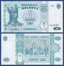 MOLDAWIEN / MOLDOVA 5 Lei 2009 UNC  P.9 e