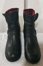 "Women's Black /Plaid Roll Down Nevada ""Jazmine""  Ankle  Boots Side Buckles Sz. 9"