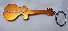 SPARKS -  Guitar Shaped Key Chain - Bright Burnt Orange Metal - Unique - NEW