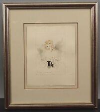Authentic & Original LOUIS ICART Art Deco Nude Woman Watercolor Painting, NR