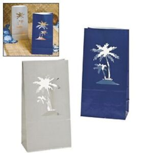 Set of 12 Palm Tree Luminary Bags Blue Gray Luau Summer Beach Wedding
