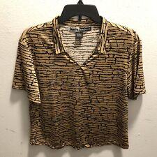 Jamie Sadock Large Top Golf Active Tennis Tiger Print Short Sleeve Shirt
