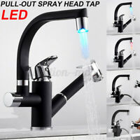 360° LED Kitchen Sink Mixer Taps Swivel Spot with Pll Ot Spray Head Tap*