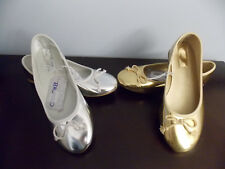 Cherokee Girls Sz. 3,4,5 Silver or Gold Metallic Dress Slip On Holiday Shoes NWT