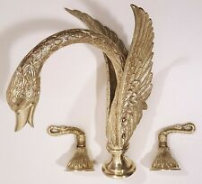 VINTAGE PHYLRICH SWAN FAUCET BRASS GOLD SINK DECK TUB FIXTURE w/ HANDLES