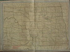1922 LARGE AMERICA MAP ~ NORTH DAKOTA SHOWING RAILROADS ~ RAND MCNALLY