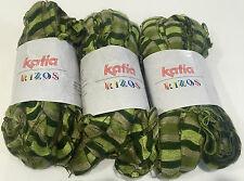3 Brand New Katia Rizos Ribbons Yarn Colour 100 Shades of Green