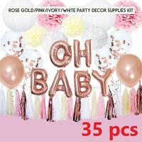 Rose Gold Baby Shower Decorations for Girl OH Baby Banner Garland Lantern Buntin