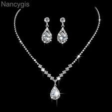 Elegant Cubic Zirconia Crystal Drop Necklace and Earrings Wedding Jewellery Set