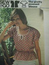 Vtg Butterick Peasant Blouse Elastic Casing Sewing Pattern Women 3612 Sz 12