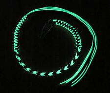 Motorcycle Get Back Biker Whip USA Made With Panic Clip Black and Green Glow 1%