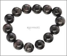 """14 Black Tourmaline Round Beads 13.5mm 7.5"""" #84053"""