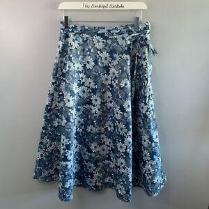 Vintage Blue Floral Lined Flared Midi Skirt • Size 10