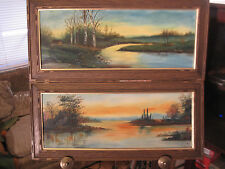 LOT OF 2  ANTIQUE WHITE MOUNTAIN SCHOOL PAINTINGS BY M.G.