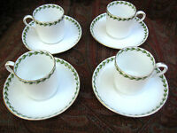 ANTIQUE TUSCAN CHINA DEMITASSE CUPS SAUCERS HOLLY BERRIES STAFFORDSHIRE SET OF 4