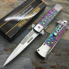 Tac Force  Rainbow Skull Head Stamped Pattern collector's Milanos Knife