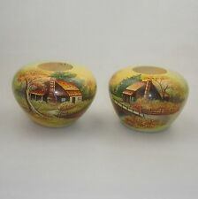 A PAIR OF POKERWORK SQUAT VASES  DECORATED WITH COUNTRY SIDE COTTAGE SCENES