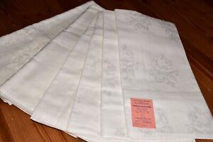 6 tlg. alte Damast Bettwäsche 2 x Bettbezüge, 4 x Kopfkissen Webmuster (6683)