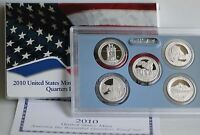 2010 S America Beautiful Quarters Clad Proof ATB 5 Coin Set with Box and COA