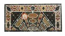 Black Marble Decorative Hallway Table Top Marquetry Inlay Outdoor Decor E1651