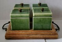 Foreside Green Ceramic Condiment  Set 4 Containers with Wood Tray