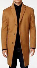 $598 Kenneth Cole Men Slim Fit Brown Wool Blend Overcoat Peacoat Coat Jacket 44L