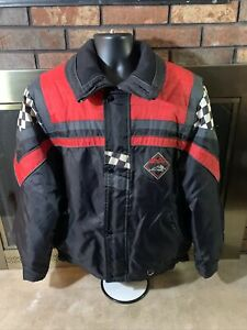 90s Edco Racing Snow Winter Snowmobile Jacket Coat Mens Size Large Checker Red