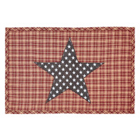 Set of 2 INDEPENDENCE Red & Tan Plaid with Navy & White Applique` Star Placemats
