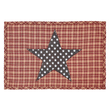 Set of 2 Barn Red & Tan Plaid with Navy & White Applique` Star Cotton Placemats