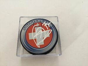 Luca Sbisa Signed Team Switzerland Hockey Puck Autographed a