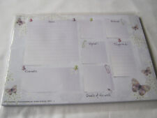 Weekly Planner Things To Do Desk Memo Stationery Paper light mauve butterflies