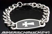 Biker Armband Panzerkette Edelstahl Kreuz auf Carbon Herren Schmuck Geschenk NEU