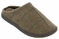 Mens Slippers Warm Lined Cushion Walk Brown Tweed Slip On Mules UK 7-11