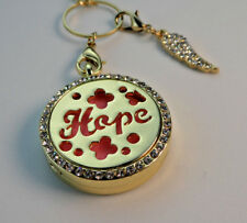 HOPE' Double Sided, Diffuser Necklace Locket Stainless Still 10ml Oil 11 Pads