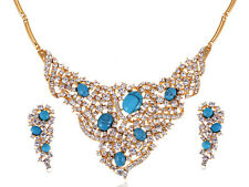 Tribal New Crystal Rhinestone Cluster Turquoise Blue Necklace Earring Set
