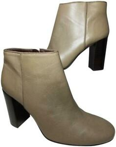 Tory Burch Women Boots ankle booties taupe gray Leather high Heel 9.5 new