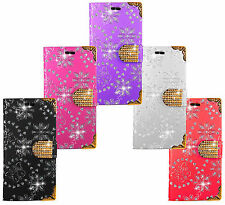 HTC Mobile Phone Bling Diamond Leather Wallet Kickstand Bag Case Cover