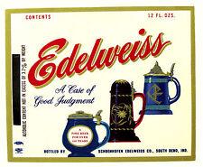Schoenhofen Edelweiss Co  EDELWEISS beer label IND 12oz ABW Max 3.2%