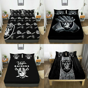Las Vegas Raiders Fitted Sheet 3PCS Deep Pocket Bed Sheet Pillowcase Bedding Set