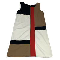 Diane von Furstenberg DVF Women's Size 10 Sheath Dress Ivory Color Block Stretch