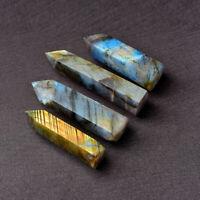 5-6cm Natural Moonstone Labradorite Quartz Crystal Point Rock Stone Healing Wand