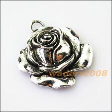 3 New Rose Flower Tibetan Silver Tone Charms Pendants 33x36mm