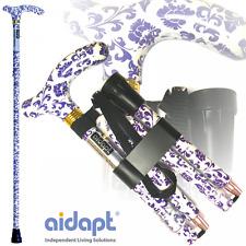 Aidapt Plegable & extensible con dibujos Bastón Azul Blanco Floral * Calidad *