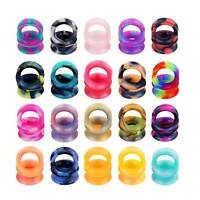 PAIR Silicone Flexible Thin Ear Plugs Tunnels Double Flared Expander Ear Gauges