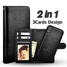 Apple Iphone X leather wallet case in black / detachable magnetic phone holder