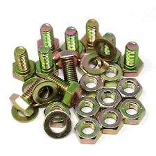 10, M10 x 20 ZINC / YELLOW DIN933 SET SCREWS BOLTS WITH M10 NUTS & M10 WASHERS