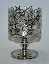 BATH & BODY WORKS GLITTERY SNOWFLAKES PEDESTAL LARGE 3 WICK CANDLE HOLDER SLEEVE